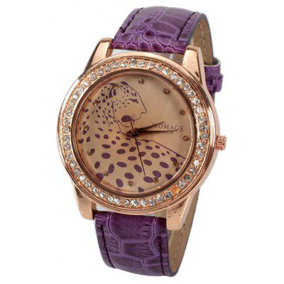 A628 Quartz Watch with 12 Small Diamond Dots Indicate Leather Watch Band Leopard Pattern Dial for Women - Purple