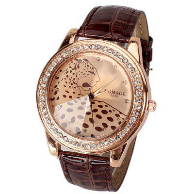 A628 Quartz Watch with 12 Small Diamond Dots Indicate Leather Watch Band Leopard Pattern Dial for Women - Brown