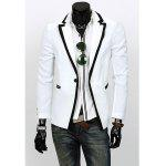 Slimming Color Block Purfled Lapel Neck Long Sleeves Polyester Blazer For Men - WHITE