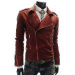 Fashion Style Turndown Collar Slimming Multi-Zipper Embellished Long Sleeves PU Leather Coat For Men - RED