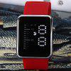 Waterproof Rubber Band Blue LED Screen Watches with Square Dial - RED