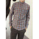 Casual Shirt Collar Ethnic Checked Design Long Sleeves Cotton Blend Shirt For Men - BLUE