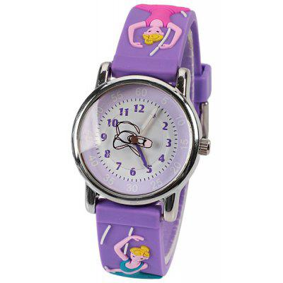 Beautiful Cartoon Rubber Strap Quartz Watch with Ballerina Patterned Watchband for Children - Purple