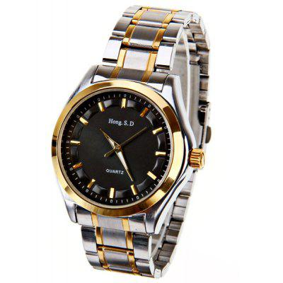 Hong.S.D Quartz Watch with Gold Strips Indicate Steel Watchband for Men - Golden