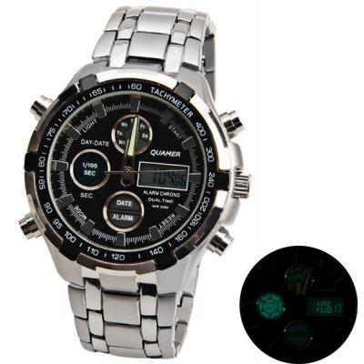 Quamer LED Men Watch Showed by Green Time Numbers Round Dial Design