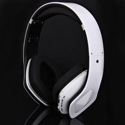 SKY-001 Superb Sound Folding Wireless Micro SD MP3 Player FM Stereo Radio Headset Headphones - White