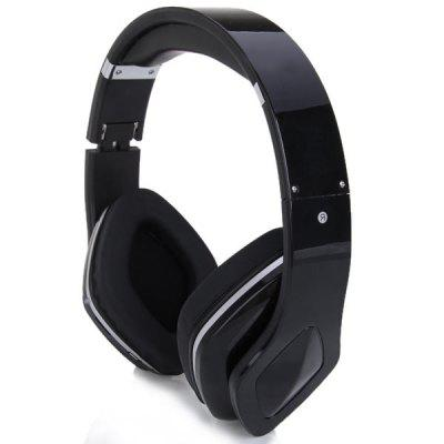 SKY-001 Superb Sound Folding Wireless Micro SD MP3 Player FM Stereo Radio Headset Headphones - Black