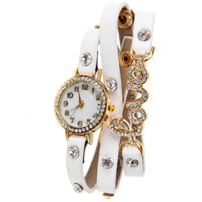 Quartz Watch 12 Arabic Numbers Indicate Diamond Love Leather Watchband for Women