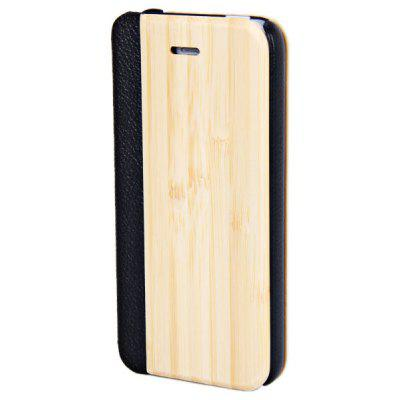 Simple Bamboo Style Natural Wood Plastic and PU Leather Shell Case for iPhone 5