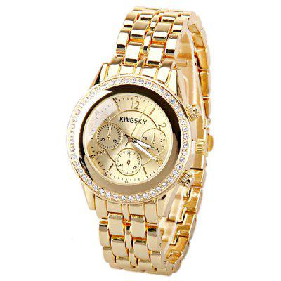 Kingsky Quartz Watch with Numbers and Strips Indicate Steel Watch Band for Women