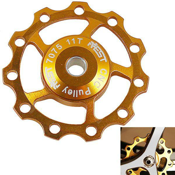 1PCS AEST A-06 Aluminium Jockey Wheel Rear Derailleur Pulley for Shimano and SRAM - Golden