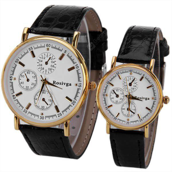 Rosivga Brand Couple Watch with Round Dial Leather Watchband