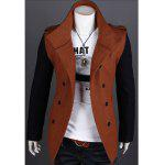 Korean Fashionable Style Turn Down Collar Color Block Double-Breasted Woolen Coat For Men - BROWN