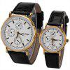 Rosivga Brand Couple Watch with Round Dial Leather Watchband - BLACK
