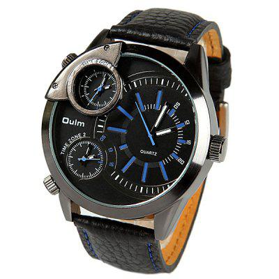 Oulm Multi - function Three Movtz Watch with Round Dial and Leather Band
