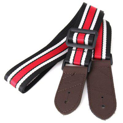 HL-816 Practical and Professional Red and Blue Stripes Leather Shoulder Strap for Guitar