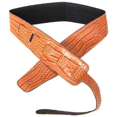 Brown Artificial Leather Crocodile Pattern Guitar Shoulder Strap