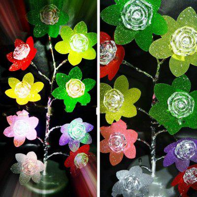 Fantastic Dazzle Kleur Rose Lamp 9LED Boom-vormige LED Light Christmas Gift 3 x AA / USB