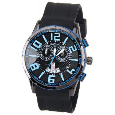 BARIHO Men Watch with Week Display Round Dial Pulseira de borracha