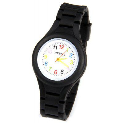 Colorful Numbers Display Watch with Round Dial and Silica Gel Band for Children