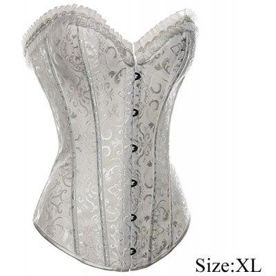 Strapless Jacquard Lace Style Front Busk Closure Corsets Shapewear (Size XL)