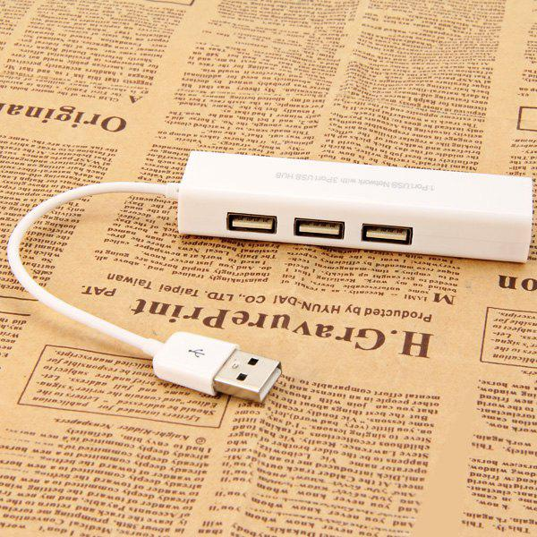 1 Port USB Network Card with 3 Port USB 2.0 Hub Lightweight and Portable