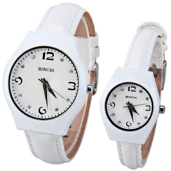 BINCHI Swiss Couple Watch by IP Plating Round Dial and Genuine Leather Band