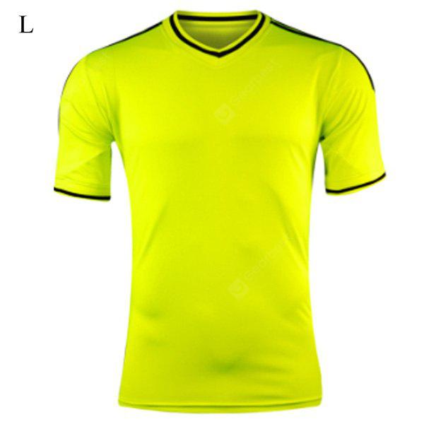 Buy Design L Size V-neck Short-sleeve Soccer Jersey Breathable Football Training Suit NEON YELLOW
