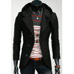 Korean Style Hooded Solid Color Single-Breasted Long Sleeves Men's Polyester Coat - BLACK