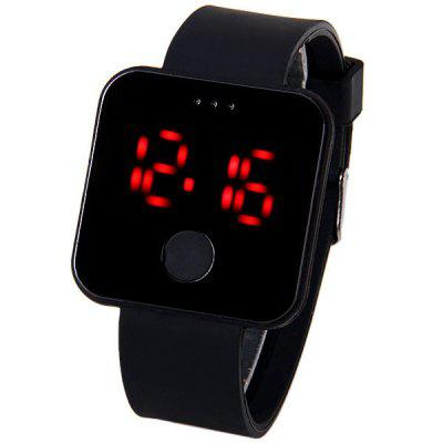 Red LED Watch with Square Dial and Rubber Band