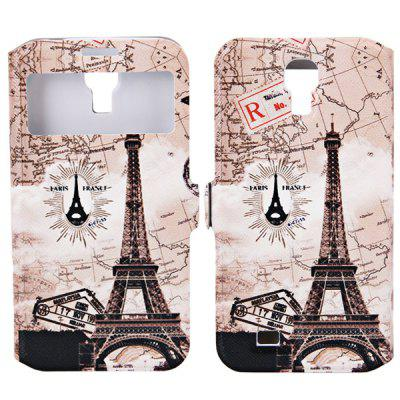 My Colors Eiffel Tower with Map Pattern Intelligent Phone Call View Window Design PC + PU Case with Card Holder for Samsung Galaxy S4 i9500 / i9505