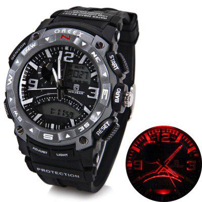 Oreex Brand Watch with Double - movtz Red LED Round Dial and Rubber Band