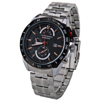 Curren Multi - function Watch with Calendar Three Small Decorating Hands Round Dial and Steel Band