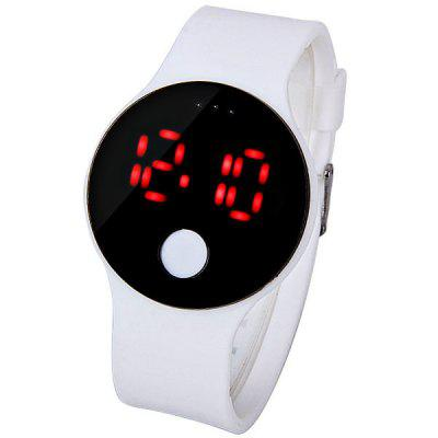 Red LED Watch with Round Dial and Rubber Band