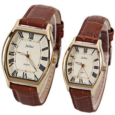 Julius Brand Waterproof Watch with Genuine Leather Band for Couple