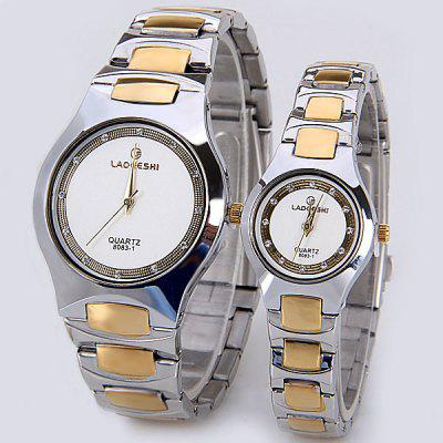 LAOGESHI Couple Watch with Quartz Round Dial and Ceramics Watch Band