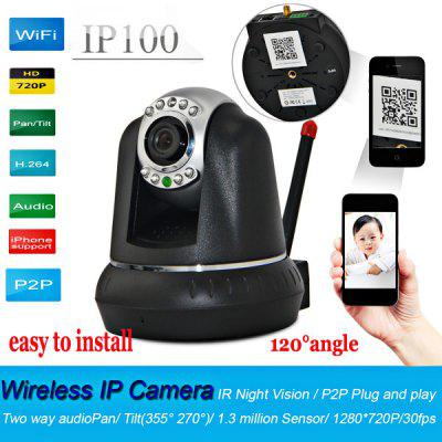IP100 IR Night Vision 720P HD Wifi IP Camera with 120 Degree Wide Angle Lens Personal Security System