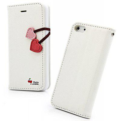 Hello Deere Cherry Series Fashion Design PU Leather Case for iPhone 5 / 5S with Card Holder and Stand Function