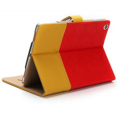 Stylish Grid Pattern PU Leather and Plastic Metal Snap-fastener Flip Case for iPad Air / 5 with Stand