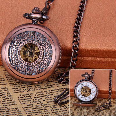 Round Shape Design 12 Arabic Numbers Indicate Vintage Mechanical Flip Pocket Watch