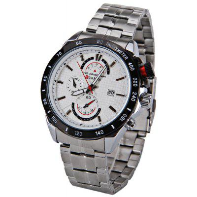 Buy WHITE Curren Multi function Watch with Calendar Three Small Decorating Hands Round Dial and Steel Band for $14.34 in GearBest store