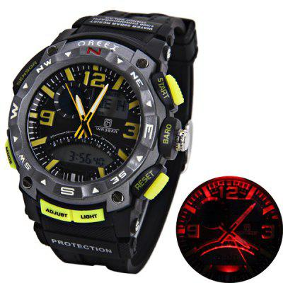 Oreex Brand Watch con doble - movtz Red LED Dial redondo y goma