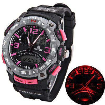 Montre Oreex Brand avec Double-Movtz Red LED Round Dial et Rubber Band