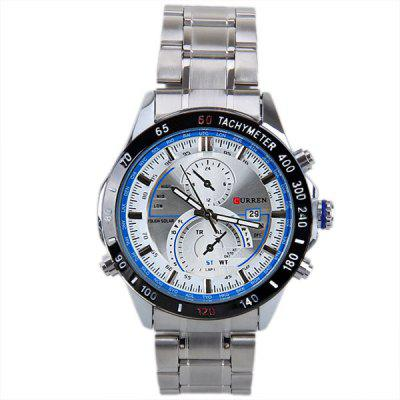 Curren 8149 Men Watch with Calendar and Two Small Decorating Hands Round Dial and Steel BandMens Watches<br>Curren 8149 Men Watch with Calendar and Two Small Decorating Hands Round Dial and Steel Band<br><br>Available Color: Brown,Blue,Black<br>Band color: Silver<br>Band material: Alloys<br>Brand: Curren<br>Case color: Black<br>Case material: Metal<br>Clasp type: Folding clasp with safety<br>Movement type: Quartz watch<br>Package Contents: 1 x Watch<br>Package size (L x W x H): 12.00 x 2.00 x 1.00 cm / 4.72 x 0.79 x 0.39 inches<br>Package weight: 0.1600 kg<br>Product size (L x W x H): 24.00 x 4.50 x 1.30 cm / 9.45 x 1.77 x 0.51 inches<br>Product weight: 0.1230 kg<br>Shape of the dial: Round<br>Special features: Calendar, Decorating small two stitches<br>The dial diameter: 4.5 cm<br>The dial thickness: 1.3 cm<br>Watch style: Fashion<br>Watches categories: Male table<br>Water resistance: 30 meters