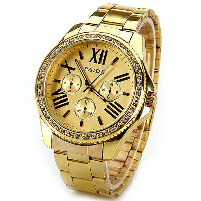 Jewel-encrusted Quartz Watch with Roman Numbers Hour Marks Round Dial and Steel Band for Women