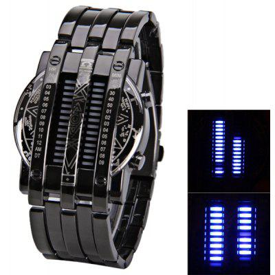 Blue LED Multi - function Watch with Calendar Date and Steel Band