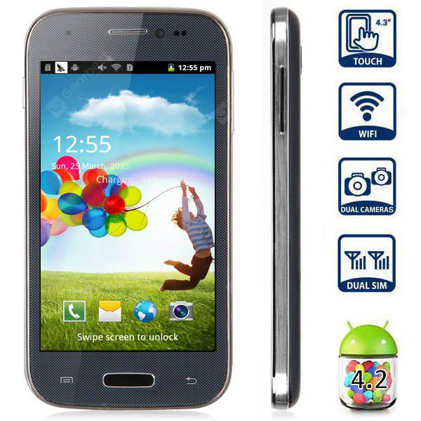 mini S4 4.3 inch Android 4.2 Quad Band Smart Phone DMDK4x12 1GHz WVGA Screen WiFi Bluetooth - GRAY