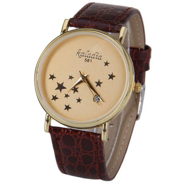 Five-Pointed Stars Pattern Quartz Watch with Calendar and Analog Indicate Leather Watchband for Women