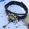 Vintage Style Watch with Tower Pendant and Knitting Leather Watch Band - BLUE