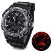 Oreex Brand Watch con doble - movtz Red LED Dial redondo y goma - NEGRO